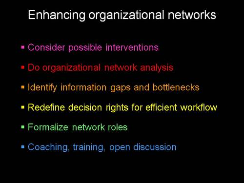 Enhancing organizational networks