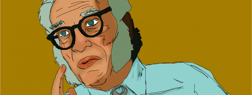 A sketch of science-fiction author Isaac Asimov by Zakeena.