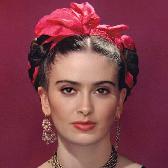 Salma hayek's face superimposed onto Frida Kahlo's image