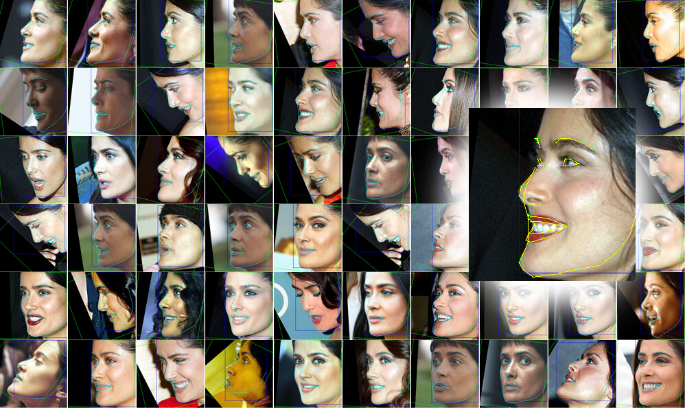 A machine learning model applies pose recognition to a large database of source photos, identifying which way the person is facing, and some characteristics of expression.