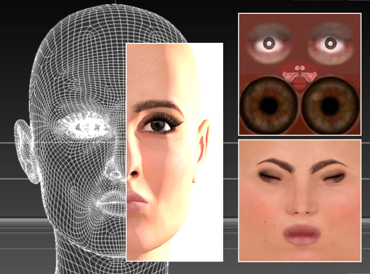 A traditional CGI head comprising vector-based mesh, point information and texture detailing, among other facets