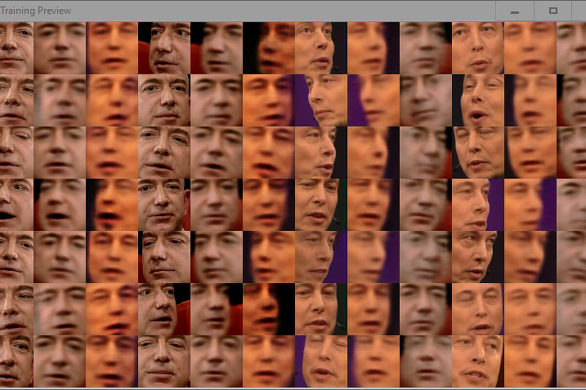 Face-swapping software in action, as a journalist trains a machine learning model designed to swap faces between Jeff Bezos and Elon Musk. The preview window shows how near the model is getting to achieving a photorealistic swap. Full training can take anywhere between six hours and a week, depending on the configuration. Once trained, the model can spit out face-swapped images in seconds, and videos in minutes.
